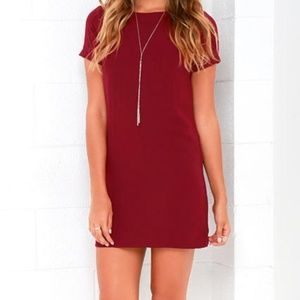 Lulu's Shift and Shout Dress Maroon Red